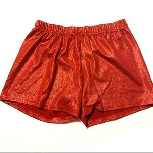 Weissman Red Metalic Stretch Booty Shorts ShimmerS